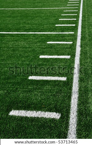 Sideline on American Football Field with Hash Marks