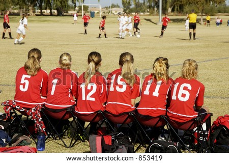 Sidelines at a girl's soccer game. - stock photo