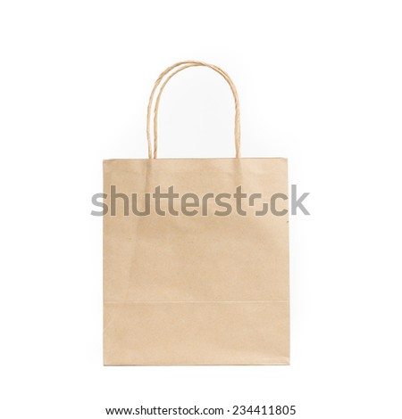 sideview brown paper shopping bag on isolated white background