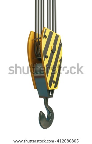 Sideview of crane hook isolated on white background. 3D Rendering - stock photo