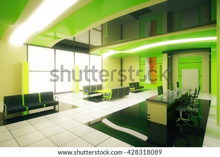 Sideview of green business interior with reception. 3D Rendering
