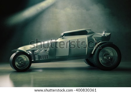 Sideview of grey Hot Rod care on concrete background. 3D Rendering - stock photo