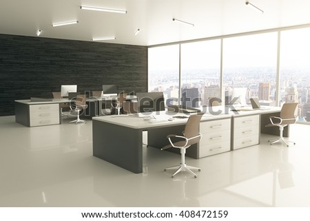 Sideview of light office interior with city view and sunlight. 3D Rendering