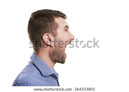 sideview of young man with open mouth. isolated on white background - stock photo