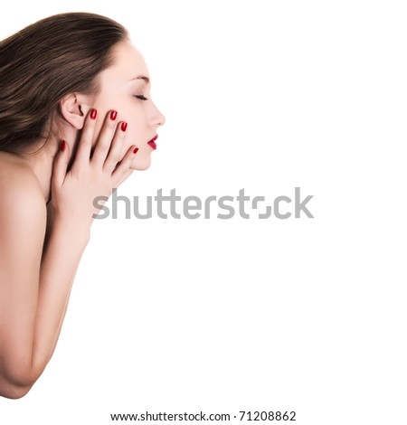 sideview portrait of beauty woman with red bright manicure on white background