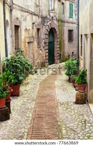 Sidewalk between old homes paved with the cobblestones - stock photo