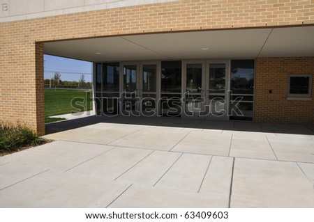 Sidewalk by the Whitehall Middle School in Whitehall, Pennsylvania - stock photo