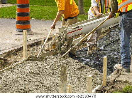 Sidewalk reconstruction project - stock photo