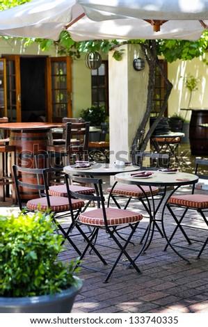 Sidewalk restaurant - stock photo