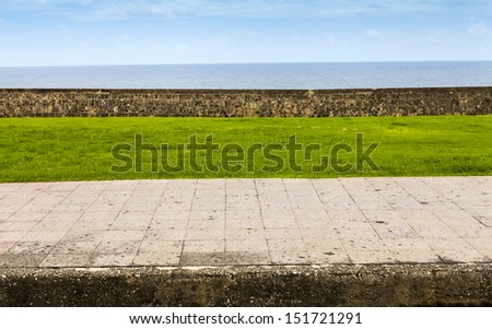 Sidewalk side view with ocean in background