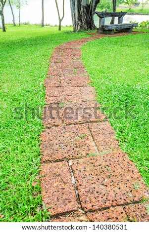 Sidewalks for a walk in the park - stock photo