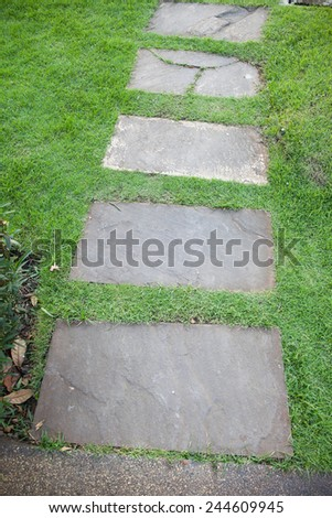 Sidewalks for pedestrians walk in the park. - stock photo