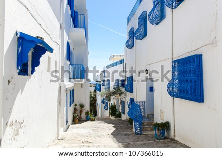 Sidi Bou Said in Tunisia, streets and buildings near town center - stock photo