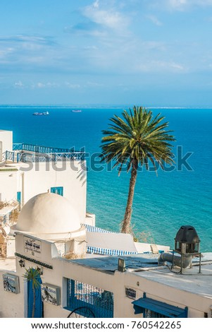 SIDI BOU SAID, TN - MARCH 15, 2017: Sidi Bou Said is a town in northern Tunisia located about 20 km from the capital, Tunis.