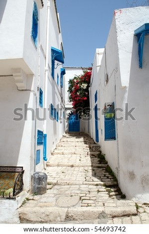 sidi bou said, tunisia - stock photo