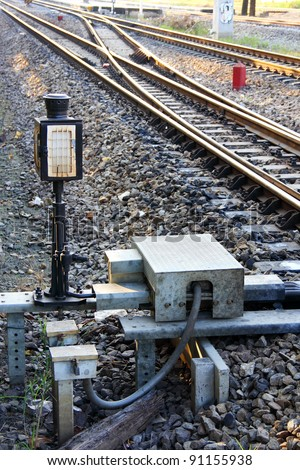 Siding control for railway  at station, Thailand - stock photo