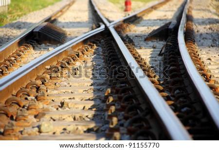 Siding for railway station, Thailand - stock photo