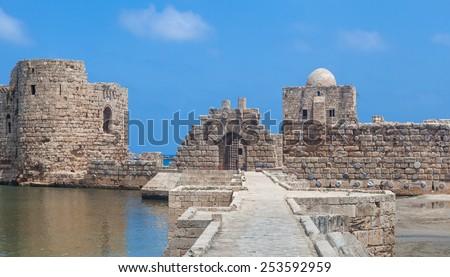 Sidon Crusader Sea Castle, Lebanon - stock photo