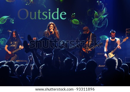 SIEDLCE - JANUARY 22, band Outside perform on stage at Podlasie Club on January 20, 2012 in Siedlce, Poland - stock photo