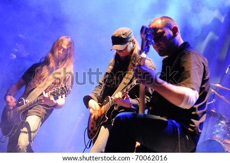 SIEDLCE - JANUARY 29: Band Upstream performs on stage at CKiS Theatre on January 29, 2011 in Siedlce, Poland - stock photo