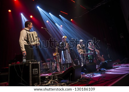 SIEDLCE, POLAND - FEBRUARY 28: Band Czeslaw Spiewa perform on stage at Podlasie on February 28.2013 in Siedlce, Poland