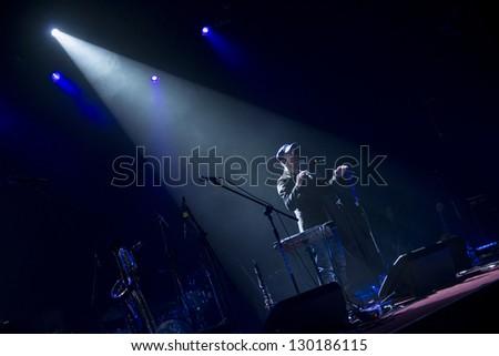 SIEDLCE, POLAND - FEBRUARY 28: Band Czeslaw Spiewa perform on stage at Podlasie on February 28.2013 in Siedlce, Poland - stock photo