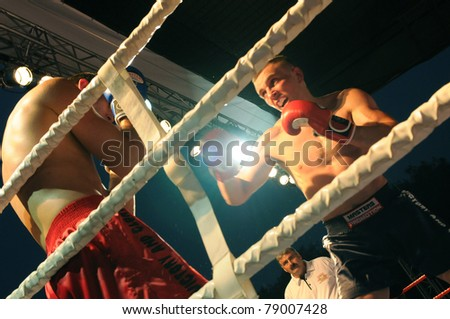 SIEDLCE, POLAND - JUNE 10: Tadas Jonkus(LT) VS Zamin Guseinov (BY) at Victory and Glory Finals Tournament on May 28, 2011 in Siedlce, Poland - stock photo