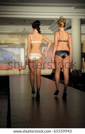 SIEDLCE, POLAND - NOVEMBER 19: Model showcasing designs from Triumph collection walk the catwalk at the Siedlce Fashion Evening on November 19, 2010 in Siedlce, Poland