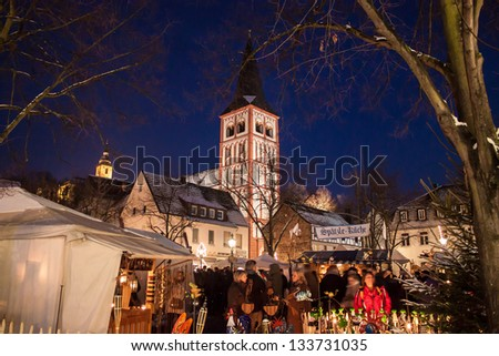 SIEGBURG, GERMANY - DECEMBER 8: Christmas market on December 8, 2012 in Siegburg, Germany. This is famous medieval market without electricity. - stock photo