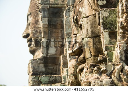 Siem reap, Cambodia - Apr 14, 2016 - Ancient stone faces of Bayon temple in Angkor Thom