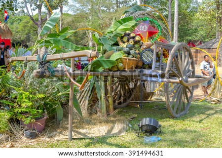 SIEM REAP, CAMBODIA - APRIL 2015: Ox cart decoration, Khmer New Year decoration in front of Angkor Wat, Siem Reap, Cambodia is the most visited place.
