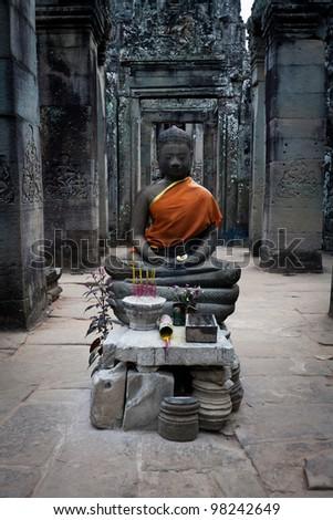 SIEM REAP, CAMBODIA: Buddha shrine  within temple Prasat Bayon at Angkor Wat - stock photo