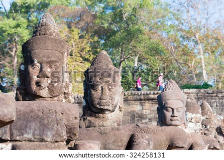 Siem Reap, Cambodia - Feb 4 2015: Angkor Thom. a famous Historical site(UNESCO World Heritage Site) in Angkor, Siem Reap, Cambodia.