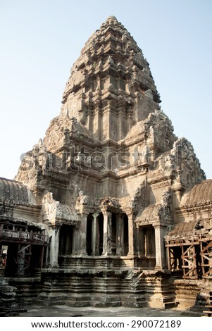 SIEM REAP, CAMBODIA - FEBRUARY 11: Ruins of the old temple in the complex of Angkor Wat on February 11, 2012 in Siem Reap.