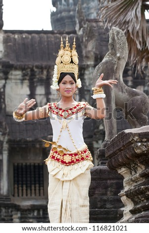 SIEM REAP,CAMBODIA- MARCH 04, 2012: The Culture Show of Cambodia in 2012 at Angkor Wat  MARCH 04,2012,unidentified women Khmer classical dancer in traditional costume in Siem Reap, Cambodia.Angkor Wat - stock photo