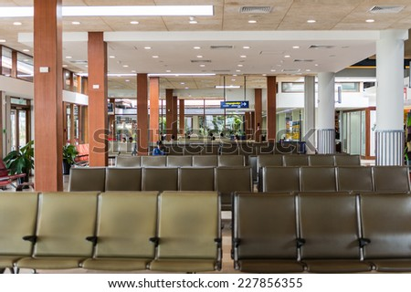 SIEM REAP, CAMBODIA - SEP 29, 2014: Interior of of the Siemreap International Airport. It is the busiest airport in Cambodia in terms of passenger traffic.