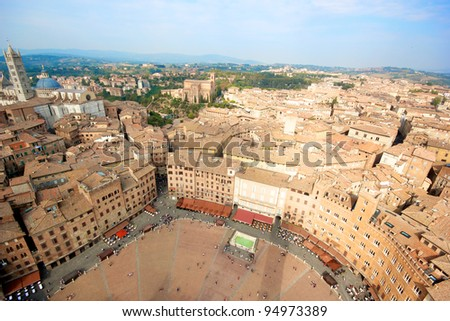 Siena, aeral view from the Tower of Piazza del Campo - Italy