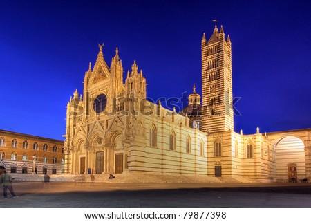 Siena Cathedral (Duomo di Siena), Italy at night - stock photo