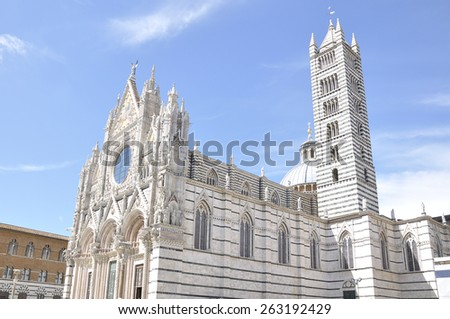 Siena Cathedral is a medieval church built in Romanesque and Gothic style, Tuscany, Italy. - stock photo