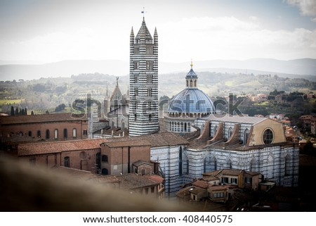 Siena Cathedral (the Dome) in Tuscany, Italy - stock photo