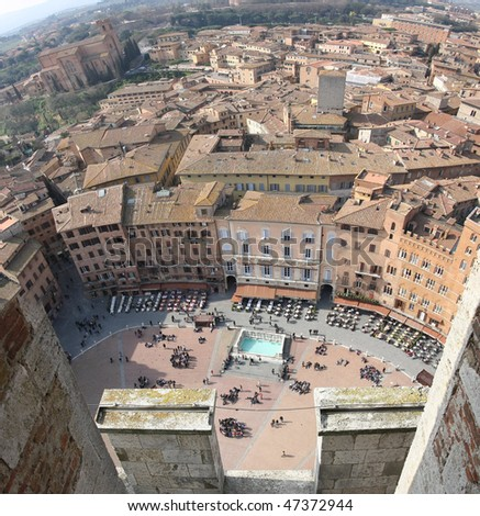 Siena from the bell tower - stock photo