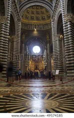 Siena - interior of cathedral Santa Maria Assunta - stock photo