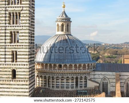 Siena, Italian medieval town - bird eye view of the city centre - stock photo