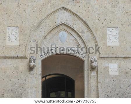 SIENA, ITALY - CIRCA DECEMBER 2014: headquarters of the Monte dei Paschi di Siena bank - stock photo