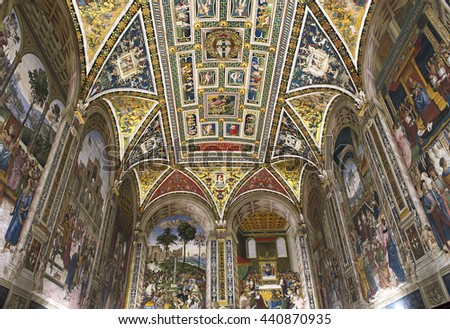 SIENA, ITALY, june 11, 2016 : interiors and details of The Piccolomini library at the duomo cathedral, on june 11, 2016,  Siena, Tuscany, italy