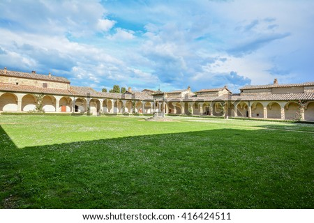 SIENA, ITALY - MAY 01, 2016 -   convent in chianti with courtyards converted into a luxury hotel for international conferences from the University of Siena Pontignano