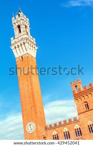 Siena, Palazzo Pubblico and Torre del Mangia, Tuscany, Italy - stock photo