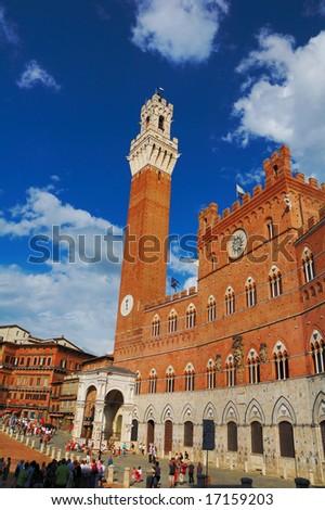 Siena,  Palazzo Pubblico, Italy - stock photo