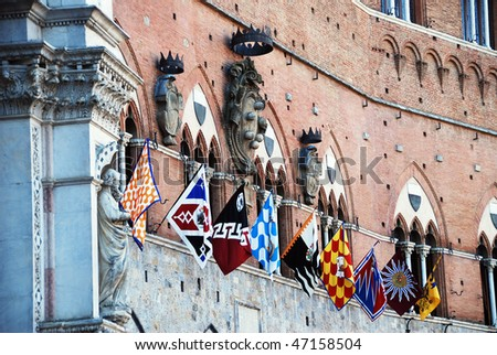 Siena. Piazza del Campo. Palio. - stock photo