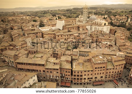 Siena skyline in Italy - Sepia Toned - stock photo